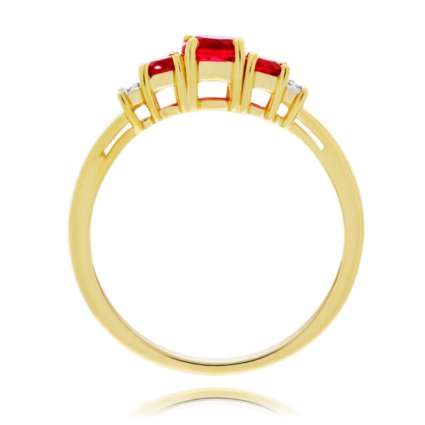 9Ct Yellow Gold V Shaped Created Ruby And Diamond Ring Image 3 Georgies Fine Jewellery Narooma, New South Wales