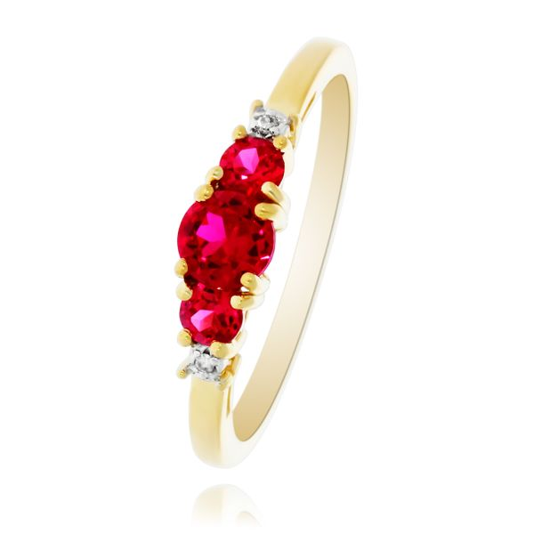 9Ct Yellow Gold V Shaped Created Ruby And Diamond Ring Image 4 Georgies Fine Jewellery Narooma, New South Wales