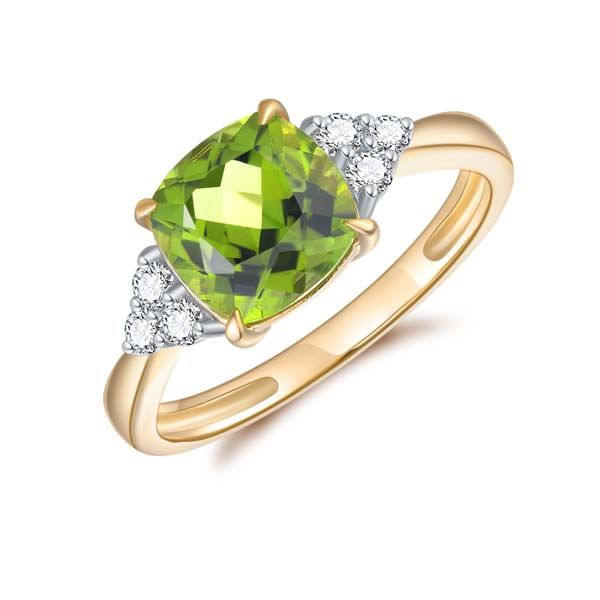 9Ct Yellow Gold Square Cushion Peridot And Diamond Ring Georgies Fine Jewellery Narooma, New South Wales