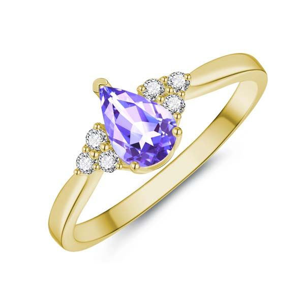 9Ct Yellow Gold Pear Shaped Tanzanite And Diamond Ring. Georgies Fine Jewellery Narooma, New South Wales