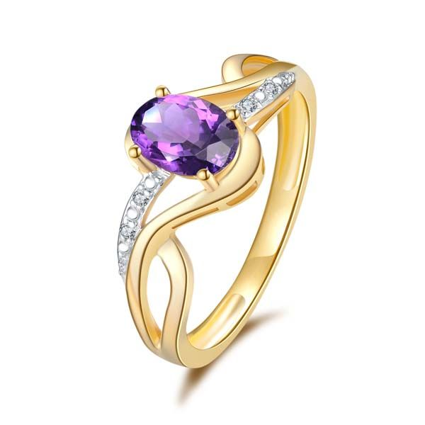 9Ct Yellow Gold Oval Amethyst And Diamond Crossover Ring. Georgies Fine Jewellery Narooma, New South Wales