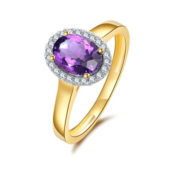 9Ct Yellow Gold Oval Amethyst And Diamond Halo Ring Georgies Fine Jewellery Narooma, New South Wales