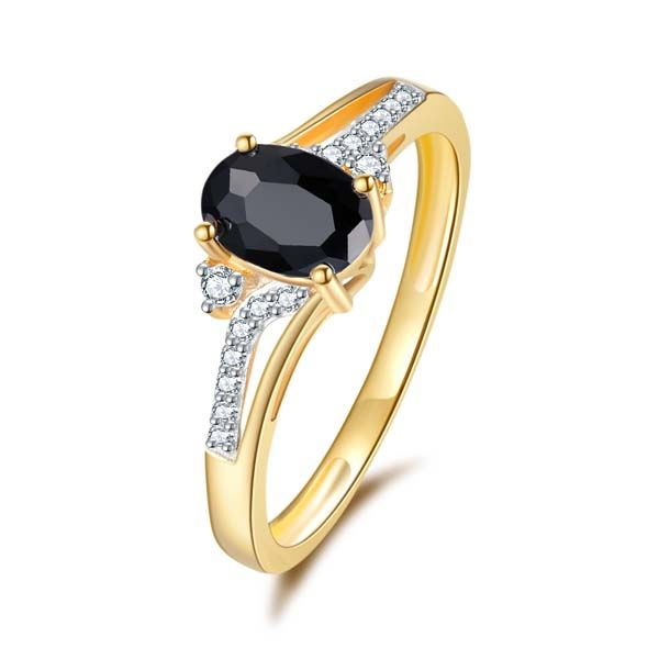 9Ct Yellow Gold Oval Shaped Black Sapphire And Diamond Ring Georgies Fine Jewellery Narooma, New South Wales