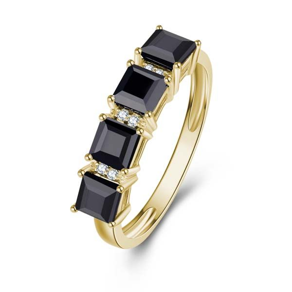 9Ct Yellow Gold Square Black Sapphires And Diamond Eternity Ring Georgies Fine Jewellery Narooma, New South Wales