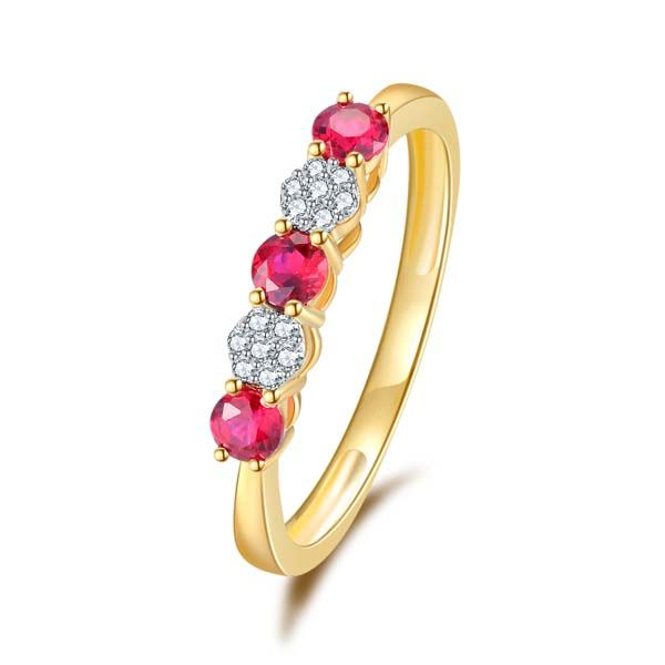 9Ct Yellow Gold Round Created Rubies And Diamond Eternity Ring Georgies Fine Jewellery Narooma, New South Wales