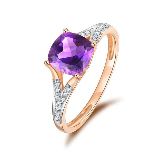9Ct Rose Gold Cushion Shape Amethyst And Diamond Ring Georgies Fine Jewellery Narooma, New South Wales