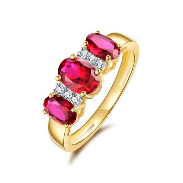 9Ct Yellow Gold 3 X Oval Shape Created Ruby And Diamond Ring Georgies Fine Jewellery Narooma, New South Wales
