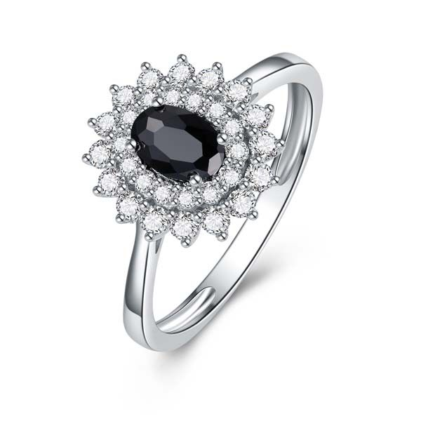 9Ct White Gold Oval Black Sapphire Cluster Diamond Ring Georgies Fine Jewellery Narooma, New South Wales