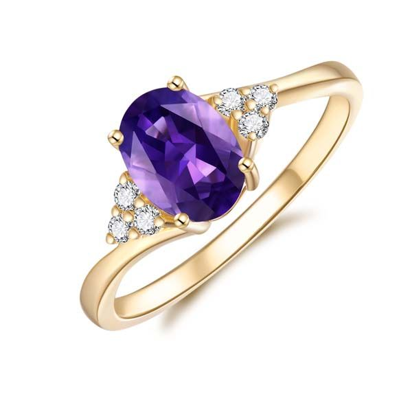 9Ct Yellow Gold Oval Amethyst And Diamond Ring Georgies Fine Jewellery Narooma, New South Wales