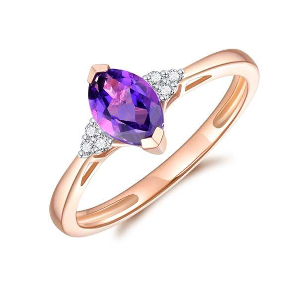 9Ct Rose Gold Marquise Shaped Amethyst And Diamond Ring Georgies Fine Jewellery Narooma, New South Wales