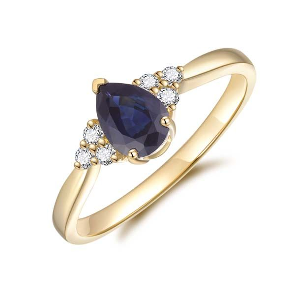 9Ct Yellow Gold Pear Shaped Black Sapphire And Diamond Ring Georgies Fine Jewellery Narooma, New South Wales