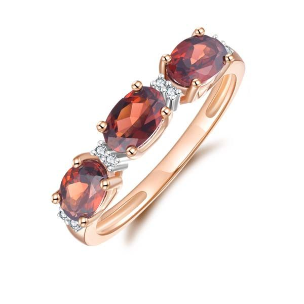 9Ct Yellow Gold 3 X Oval Garnet And Diamond Ring Georgies Fine Jewellery Narooma, New South Wales