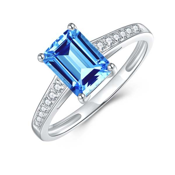 9Ct White Gold Emerald Shape Blue Topaz And Diamond Ring Georgies Fine Jewellery Narooma, New South Wales