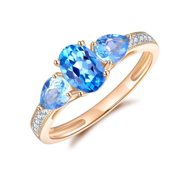 9Ct Yellow Gold Oval And Pear Shaped BlueTopaz And Diamond Ring Georgies Fine Jewellery Narooma, New South Wales