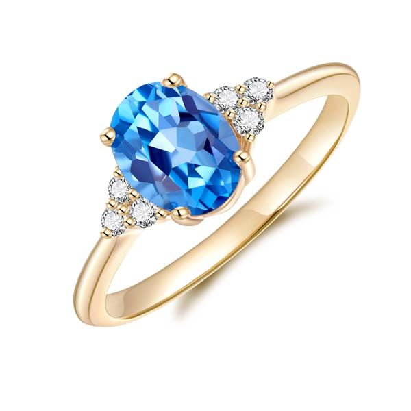 9Ct Yellow Gold Oval Blue Topaz And Diamond Ring Georgies Fine Jewellery Narooma, New South Wales