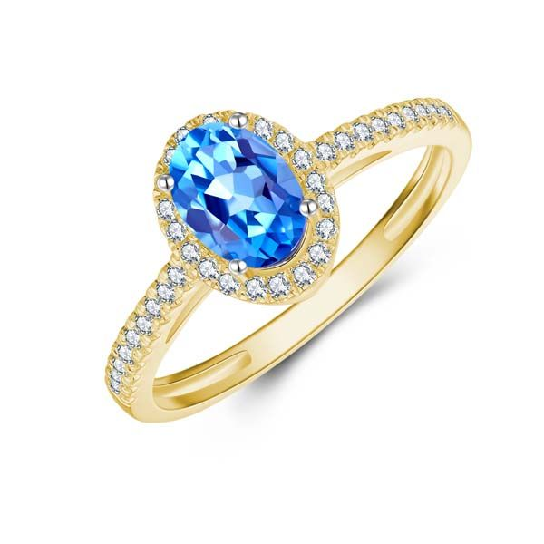 9Ct Yellow Gold Oval Blue Topaz And Diamond Halo Ring Georgies Fine Jewellery Narooma, New South Wales