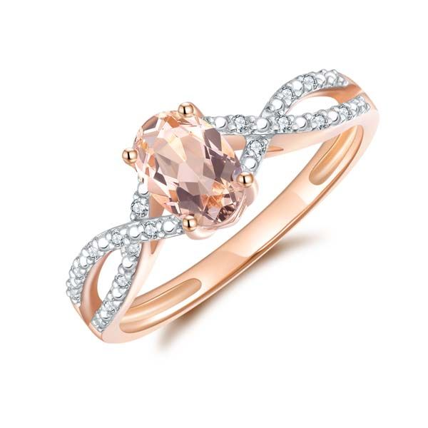 9Ct Rose Gold Oval Morganite And Diamond Crossover Band Ring Georgies Fine Jewellery Narooma, New South Wales
