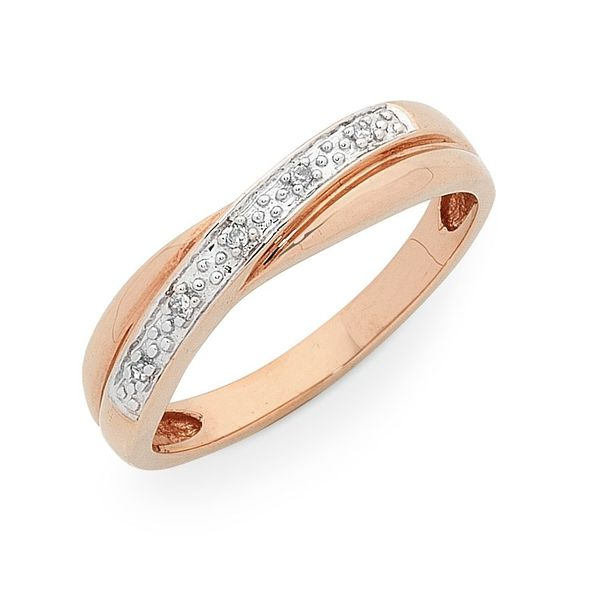 Rose Gold Cross Over Diamond Set Band Georgies Fine Jewellery Narooma, New South Wales