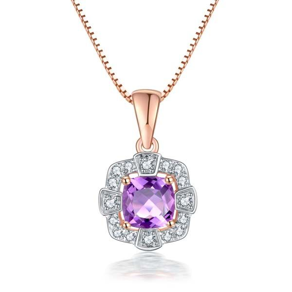 9Ct Rose Gold Square Cushion Pink Amethyst And Diamond Pendant Georgies Fine Jewellery Narooma, New South Wales