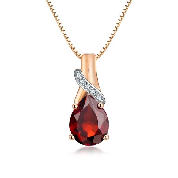 9Ct Yellow Gold Pear Shaped Garnet And Diamond Teardrop Pendant Georgies Fine Jewellery Narooma, New South Wales