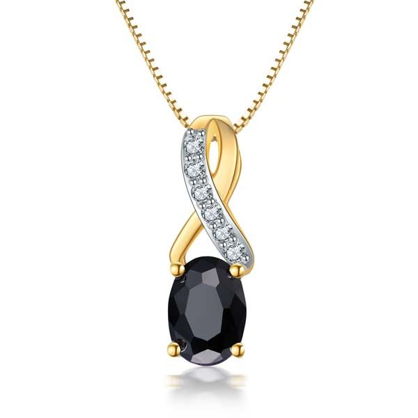 9Ct Yellow Gold Oval Black Sapphire And Diamond Pendant Georgies Fine Jewellery Narooma, New South Wales