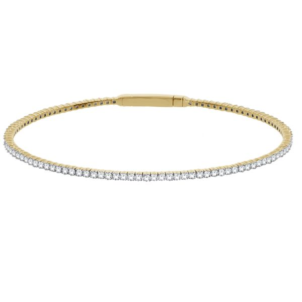 14Ct Yellow Gold Diamond Flexible Set Bangle With Box Clasp. Georgies Fine Jewellery Narooma, New South Wales