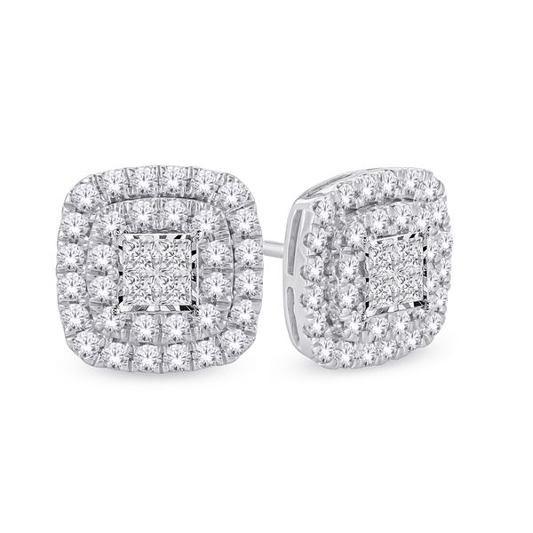 10Ct White Gold Square Shaped Double Halo Studs Georgies Fine Jewellery Narooma, New South Wales