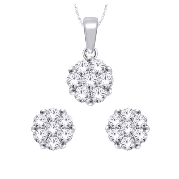 10Ct White Gold Flower Cluster Diamond Set Stud Earrings Georgies Fine Jewellery Narooma, New South Wales