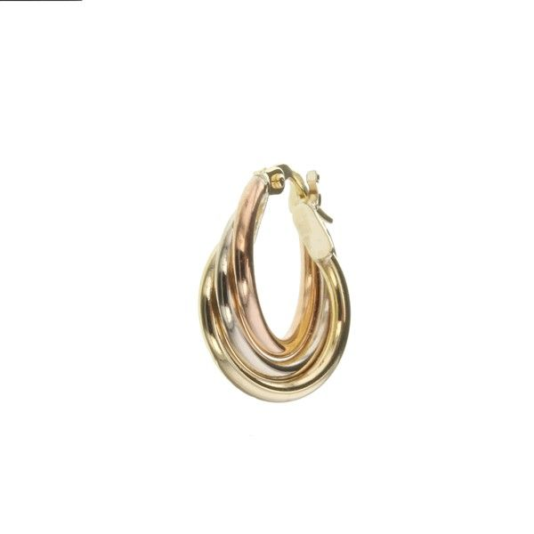 9Ct Yellow, White And Rose Gold Fancy Hoop Earrings Georgies Fine Jewellery Narooma, New South Wales