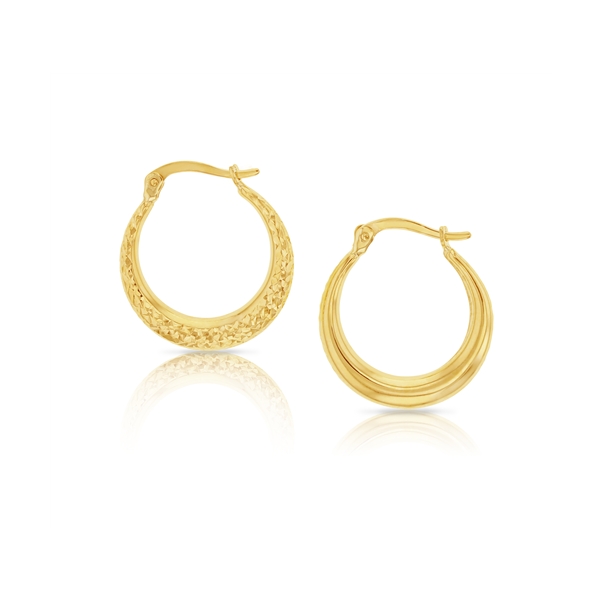 9Ct Yellow Gold Diamond Cut Crescent Hoop Earrings Georgies Fine Jewellery Narooma, New South Wales