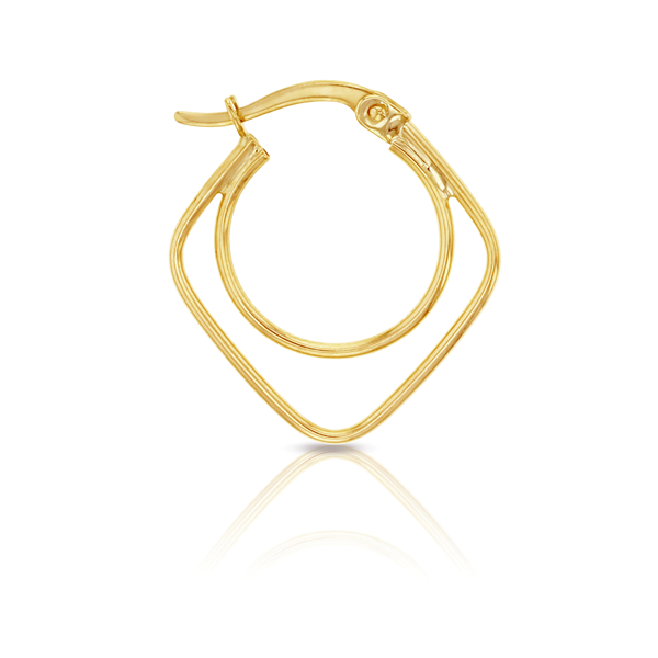 9Ct Yellow Gold Circle And Square Hoop Earrings Georgies Fine Jewellery Narooma, New South Wales