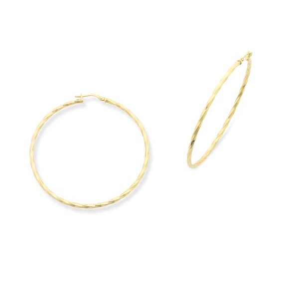 9Ct Yellow Gold Silver Filled 50Mm Hoop Earrings - Faceted Georgies Fine Jewellery Narooma, New South Wales