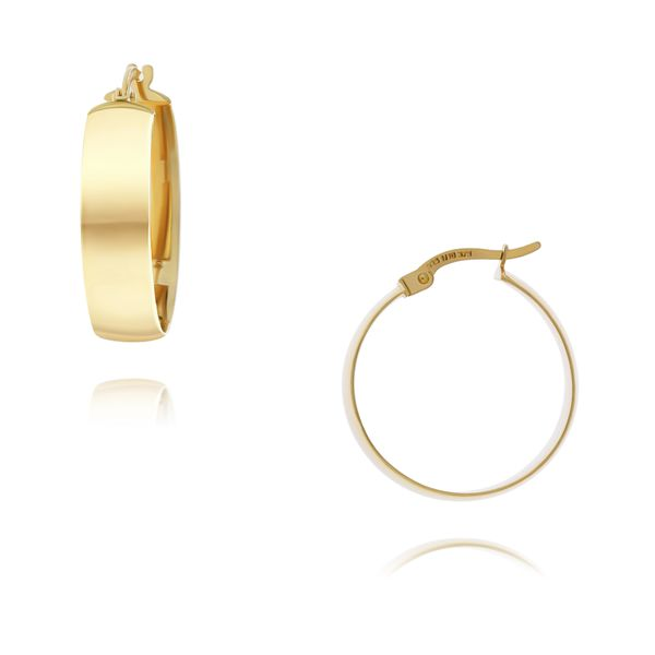 Yellow Gold Wide Hoop Earrings - 20mm Georgies Fine Jewellery Narooma, New South Wales