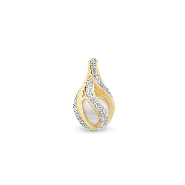 9Ct Yellow Gold Freshwater Pearl Cage Pendant With Round Brilliant Cut Diamonds Georgies Fine Jewellery Narooma, New South Wales