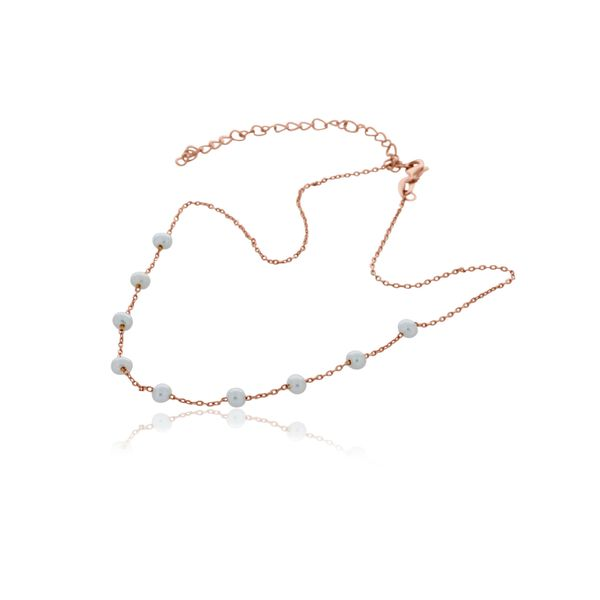 Rose Gold Plated Freshwater Mini Pearl And Chain Choker Image 2 Georgies Fine Jewellery Narooma, New South Wales
