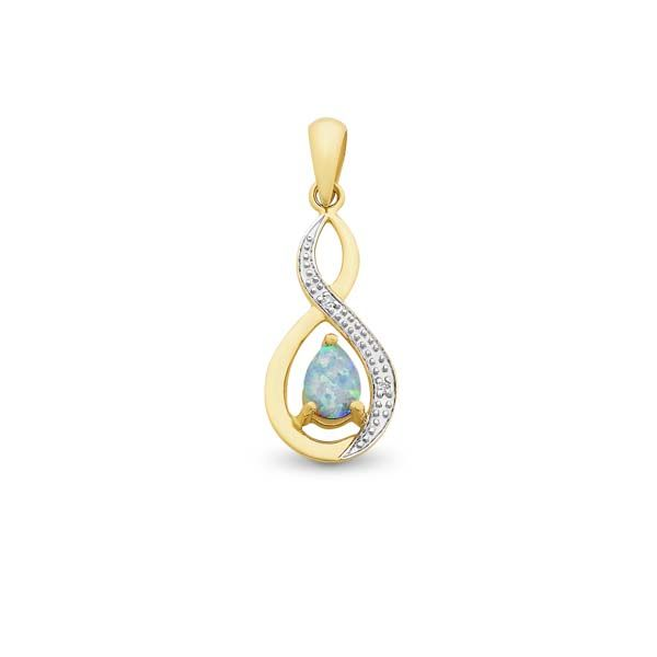9Ct Yellow Gold Pear Shaped Created Created White Opal & Diamond Pendant Georgies Fine Jewellery Narooma, New South Wales