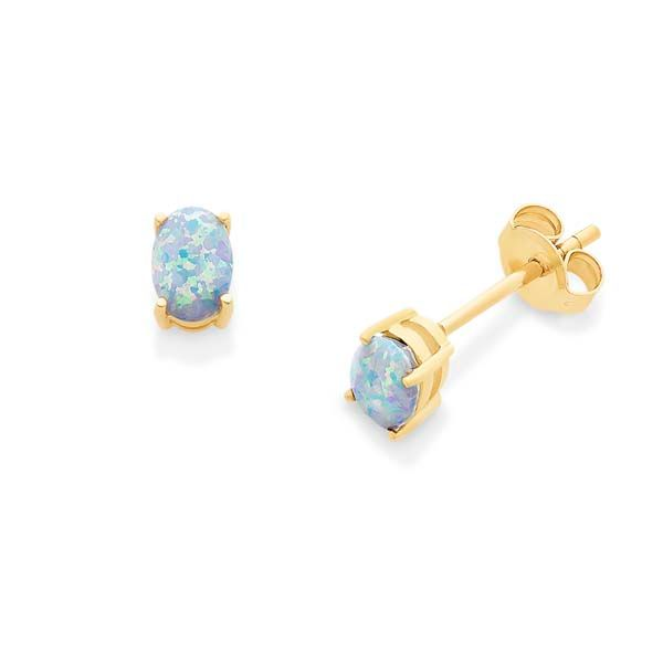 9Ct Yellow Gold Oval White Created Opal Stud Earrings Image 2 Georgies Fine Jewellery Narooma, New South Wales