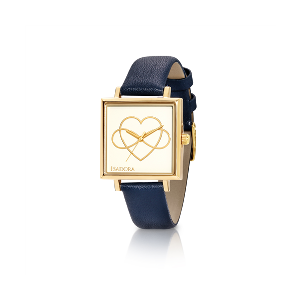Isadora Calal Ladies Watch With Square Yellow Gold Plated Case, White Dial With Gold Heart And Bow Detail And Navy Leather Band Georgies Fine Jewellery Narooma, New South Wales