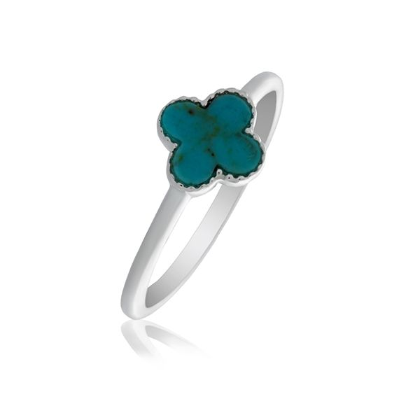 Silver Small Cross Ring With Turquoise - Stacker Ring Georgies Fine Jewellery Narooma, New South Wales