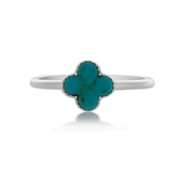 Silver Small Cross Ring With Turquoise - Stacker Ring Image 2 Georgies Fine Jewellery Narooma, New South Wales