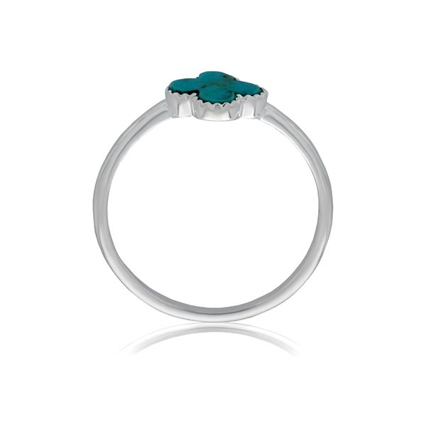 Silver Small Cross Ring With Turquoise - Stacker Ring Image 3 Georgies Fine Jewellery Narooma, New South Wales