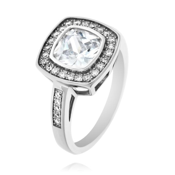Silver Cushion Cubic Zirconia Halo Ring Georgies Fine Jewellery Narooma, New South Wales