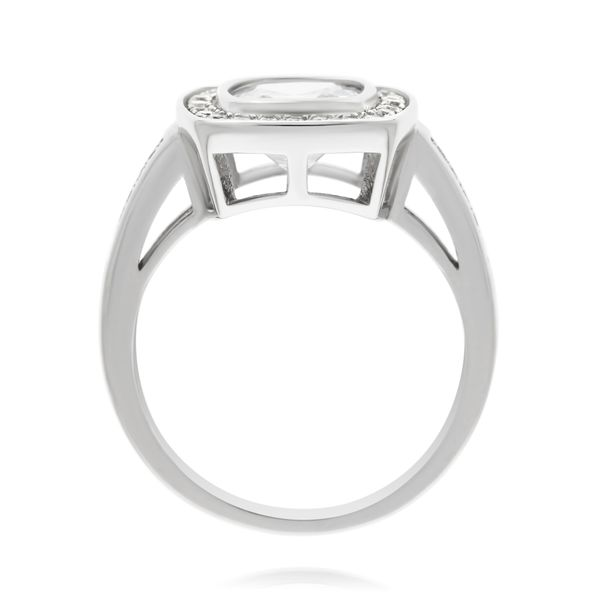 Silver Cushion Cubic Zirconia Halo Ring Image 2 Georgies Fine Jewellery Narooma, New South Wales