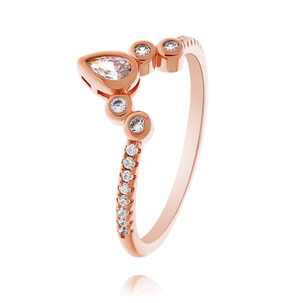 Rose Gold Plated Pear And Round Shaped Cz Mendhi Ring Georgies Fine Jewellery Narooma, New South Wales
