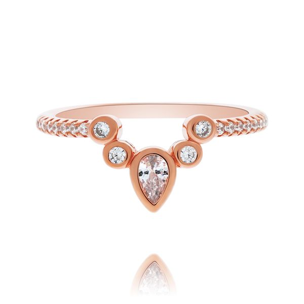 Rose Gold Plated Pear And Round Shaped Cz Mendhi Ring Image 4 Georgies Fine Jewellery Narooma, New South Wales