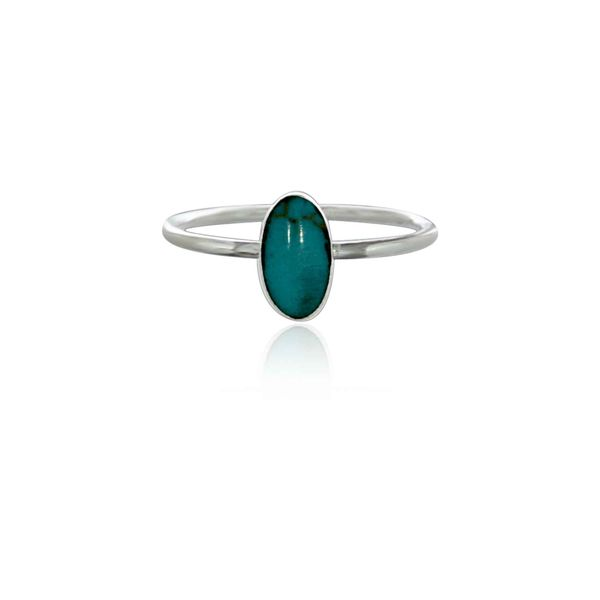 Silver Long Oval Turquoise Ring Image 3 Georgies Fine Jewellery Narooma, New South Wales