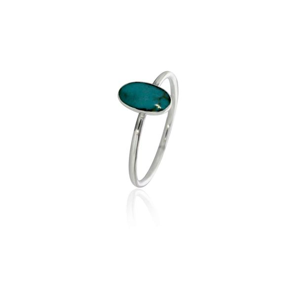 Silver Long Oval Turquoise Ring Georgies Fine Jewellery Narooma, New South Wales