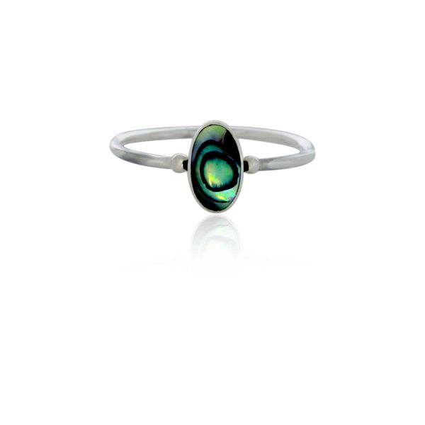 Silver Long Oval Paua Ring Image 3 Georgies Fine Jewellery Narooma, New South Wales