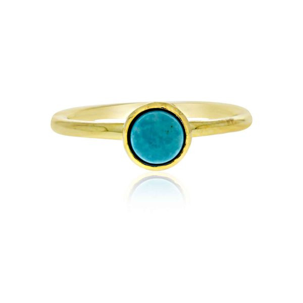 Mojo Yellow Gold Plated Ring With Turquoise - Stacker Ring Image 3 Georgies Fine Jewellery Narooma, New South Wales