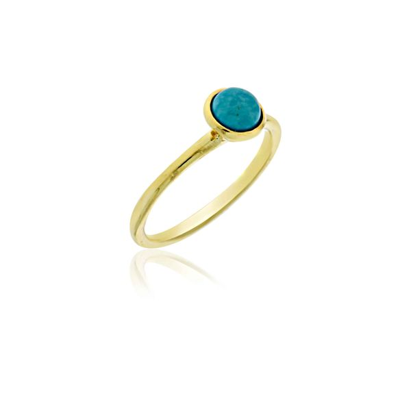 Mojo Yellow Gold Plated Ring With Turquoise - Stacker Ring Georgies Fine Jewellery Narooma, New South Wales